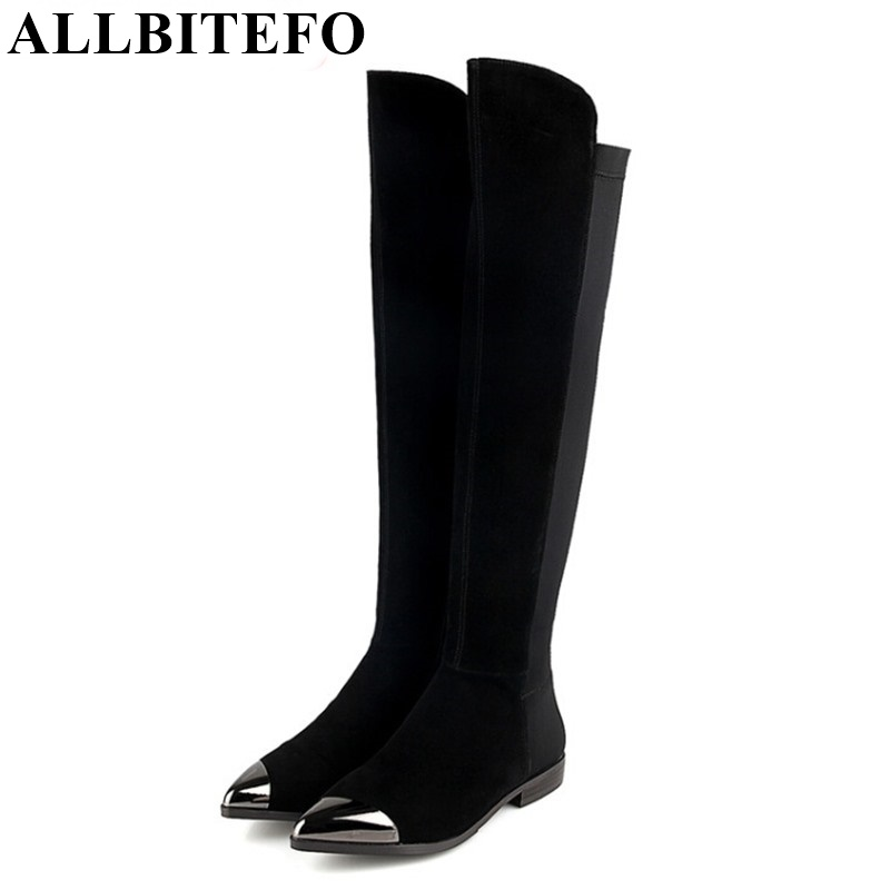 ALLBITEFO Metal toe flat heel genuine leather +Elastic material over the knee women boots winter warm pointed toe long boots
