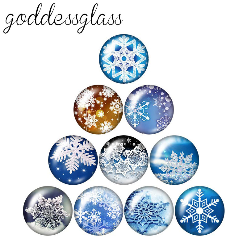 Winter Snowflake Christmas 10pcs Mixed 12mm/18mm/20mm/25mm Round Photo Glass Cabochon Demo Flat Back Making Findings