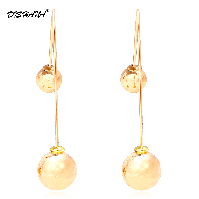 Cool Jewelry gold-color Dangle Earrings for women Colorful Double Balls Drop Earrings Charm Ball earring jewelry for girl E0274