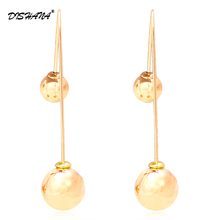 jewelry gold-color Dangle Earrings for women Colorful Double Beads Drop Earrings Charm Ball earring jewelry for girl E0274