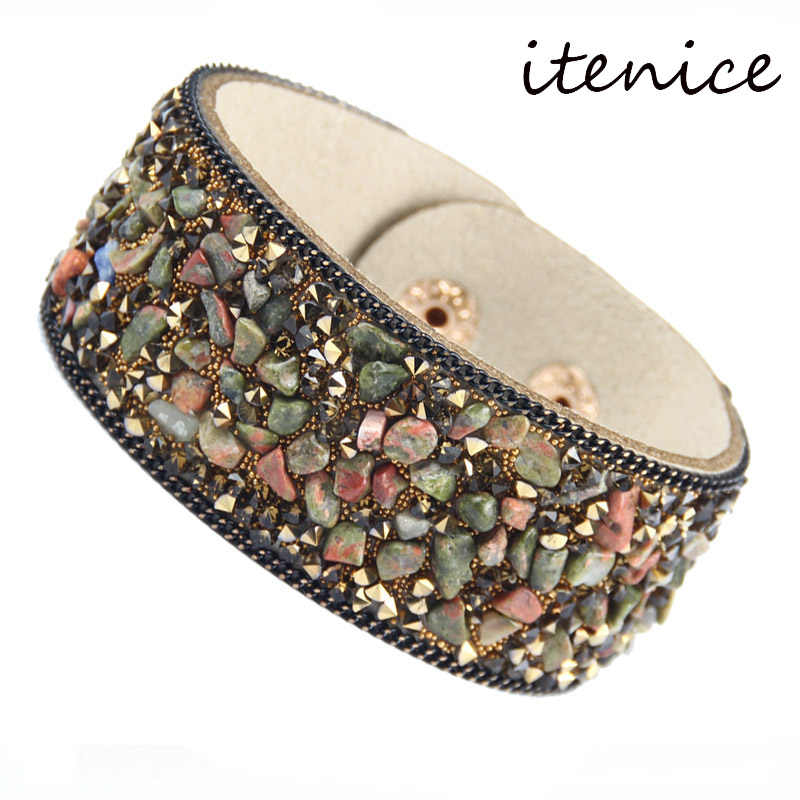 2019 Hot Sale Fashion Stone Beacelets For Women Wrap Cuff Slake Leather Bracelets With Crystal Rhinestone Couple Nature Jewelry
