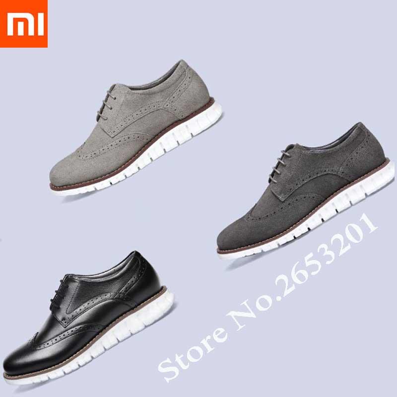 Xiaomi mijia chaussures en cuir pour hommes chaussures de sport légères derby chaussures en cuir léger haute élastique pour hommes et femmes chaussures en daim
