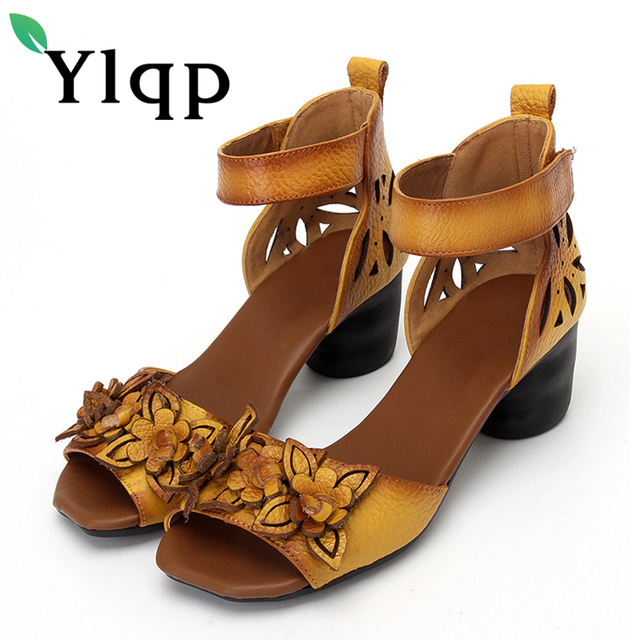 afdff1223 Ylqp Ladies Shoes 2018 Summer Genuine Leather Sandals Retro Flowers  Mother s Shoes Fish Mouth Women Sandals Sapato Feminino Shoe