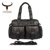 COWATHER New Arrival Top Cow Genuine Leather Bag Messenger Bags For Men Male Cowhide Handbag Men