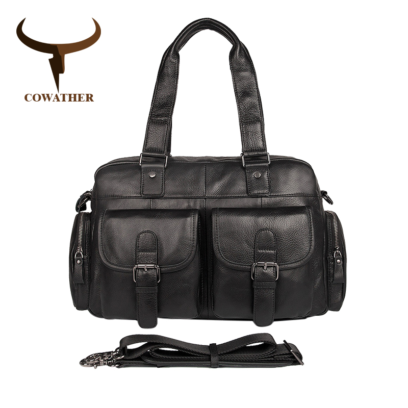 COWATHER New Arrival Top Cow Genuine Leather Bag Messenger Bags For Men Male Cowhide Handbag Men's High Quality Shoulder Bags cowather new 100