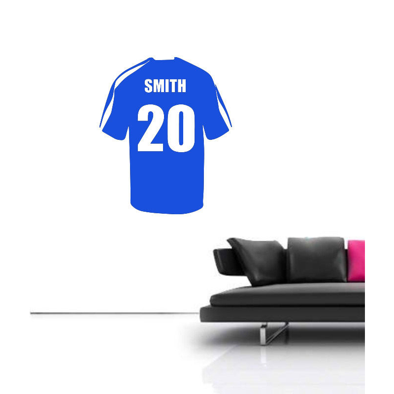 Name personalized football soccer shirt wall art children kids sticker decal removable vinyl transfer stencil bedroom decor in wall stickers from home