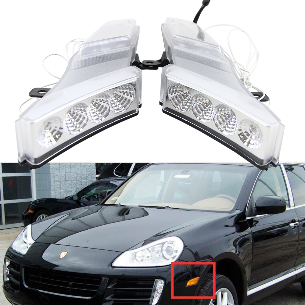 ФОТО Euro Style Clear Lens Amber/White Switchback LED Side Markers lamps For Cayenne 07-10 Replace OEM Sidemarker Lamps 95563103610