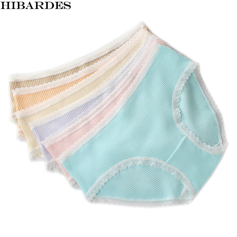 5 Pcs/lot Sexy Women Briefs Cotton 95% Lingerie Cute lace Soft Girls stripe Underwear Bikinis calcinha tanga cueca Girl Panties