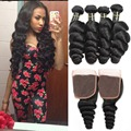 Indian loose wave with closure Indian virgin hair loose wave virgin bundles with closure 4 bundles human hair with closure