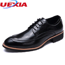 UEXIA Men Shoes Oxfords Designer Brogue Leather Lace Up Business Formal Dress Party Office Wedding Mens Shoe Mocassins Banquet