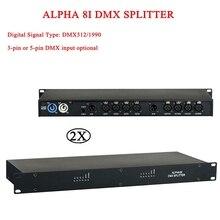 2 ピース/ロットステージライトコントローラアルファ 8I DMX スプリッタ光信号増幅器スプリッタ DMX 販売代理店ステージ機器