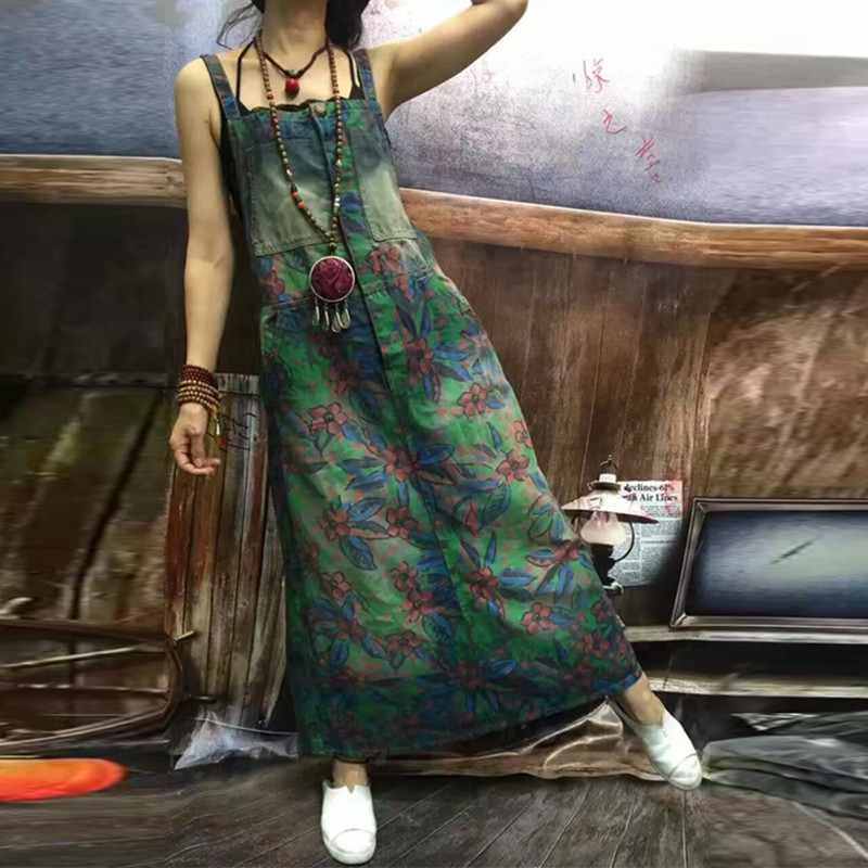 New Arrival Vintage Flower Print Denim Long Maxi Dress Women's Dresses
