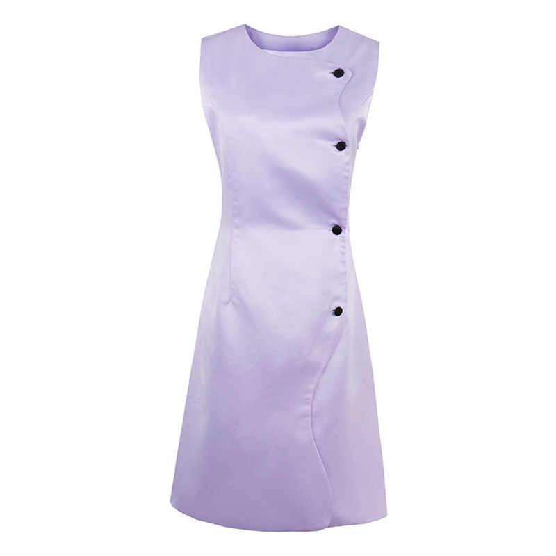9aaf933e3c Sisjuly Summer 50s Vintage Dresses Knee Length Women Sleeveless Light Purple  Dress 2017 Square Neck Buttons