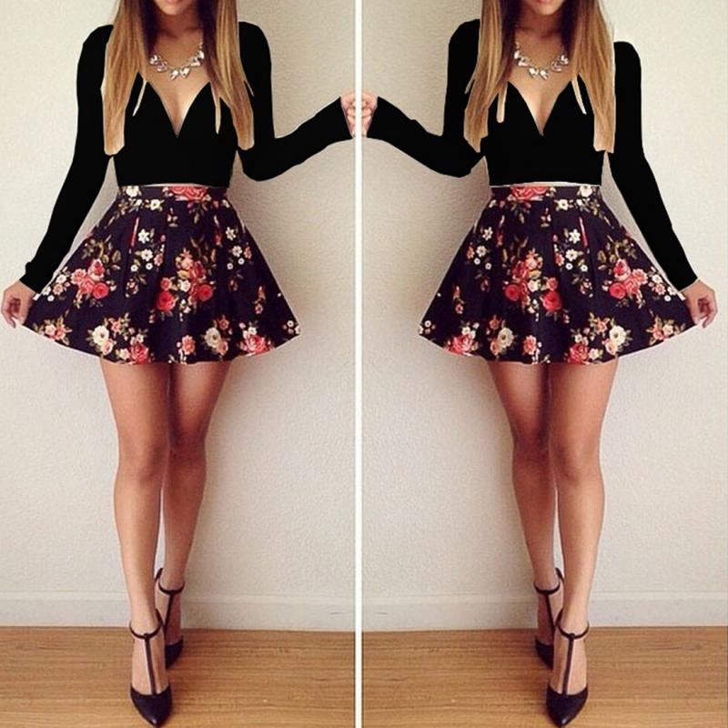Women Deep V neck Dress white and black Floral Sexy Dresses Prom ...