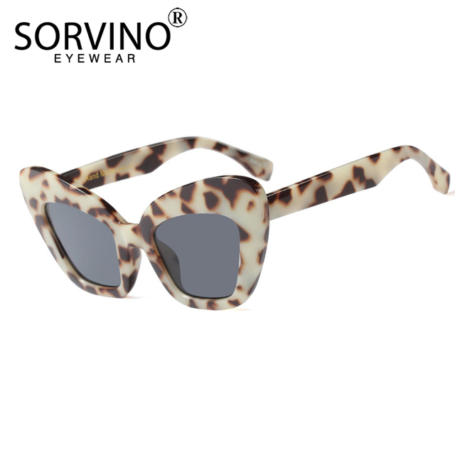 d9b7178fab SORVINO Retro 90s Large Tortoiseshell Cat Eye Sunglasses 2018 Women  Designer Oversized Butterfly Sun Glasses Big Shades SN175