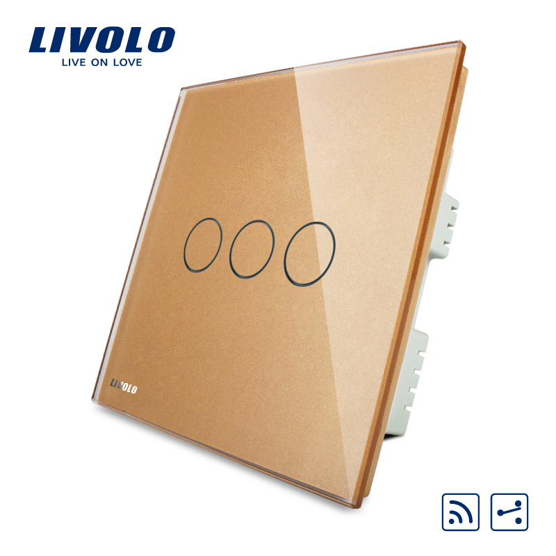 Livolo UK standard 3gang 2ways Wireless Intermediate Remote Switch,Luxury Crystal Glass Panel, AC220-250V,VL-C303SR-63,No remote uk standard wireless switch luxury crystal glass panel 1 gang 1 way home light switch remote touch switch vl c301r 63