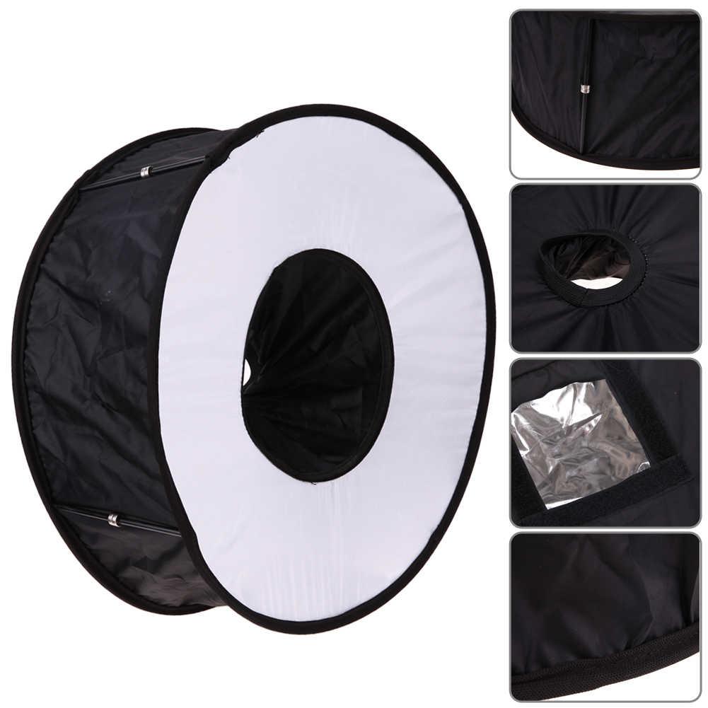 Fotografia 45 cm Dobrável Tiro Macro Ring Flash Speedlite Difusor Rodada Godox Speedlight Softbox para Canon Nikon Sony Pentax