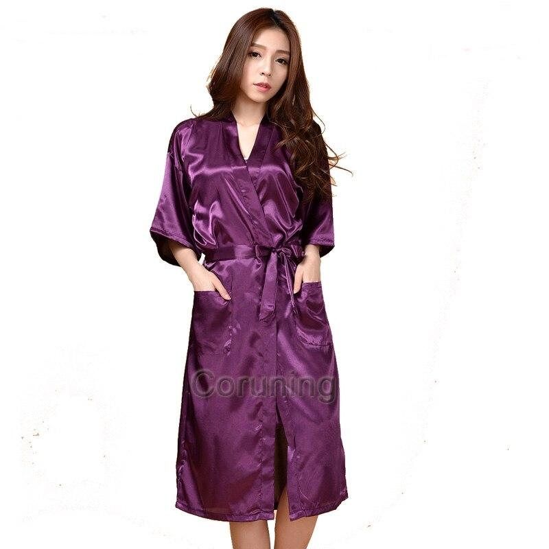Rb009 tamaño grande sexy Satén de seda robe vestidos de vestir para ...
