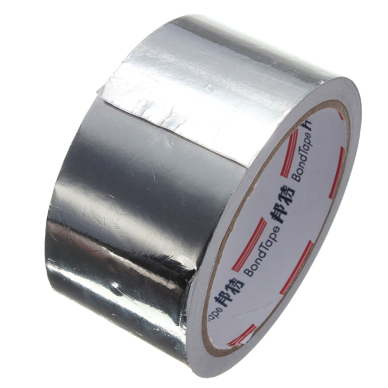 Silver Aluminum Foil Adhesive Heating Duct Repairs Reflector Sealing Roll Tape 48mm x 17m