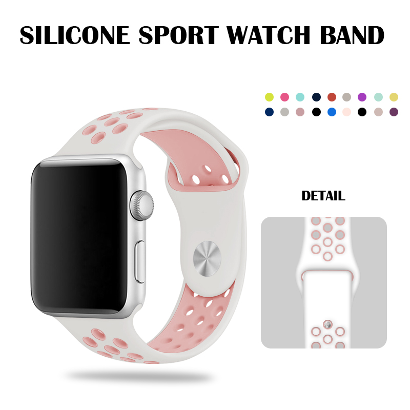 White/Pink Apple Watch 44mm Nike Sport Band 40mm For Apple Watch Silicone Strap 42mm 38mm Bracelet For Iwatch Series 2