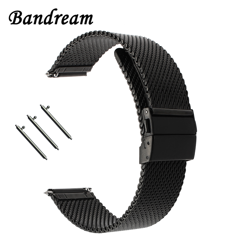 20mm 22mm Milanese Watchband + Butterfly Buckle for Ticwatch 1 2 Moto 360 2 42mm 46mm Men Stainless Steel Watch Band Wrist Strap genuine leather watch band 20mm for motorola moto 360 2 42mm men 2015 stainless buckle strap wrist belt bracelet black brown