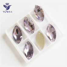 YANRUO 3223 All Sizes Violet Navette Sewing Stones Sew On Glass Strass Flat Back Crystal Horse Eye Rhinestone