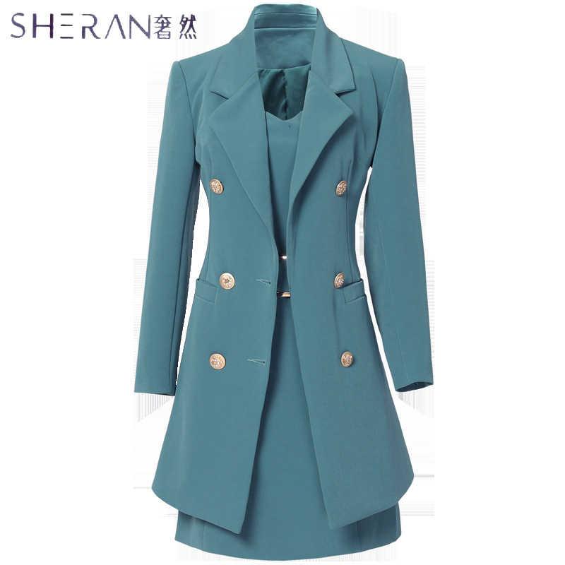 SHERAN 2018 秋のビジネススーツエレガントなオフィスのドレスの女性作業 2 枚セット長袖ブレザーやノースリーブのドレススーツセット