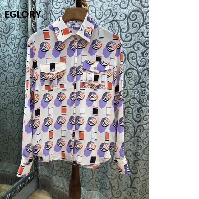 100% Silk Shirt Blouses Women Turn-down Collar Vintage Umbrella Print Bust Pocket Patchwork Long Sleeve Casual Shirt Blusas 2019