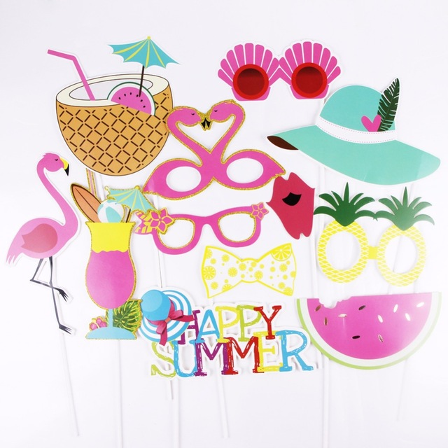 Summer Tropical Party Photo Booth Props Hawaiian Wedding Bridal Shower Flamingo Pineapple Decoration Home Event Party Supplies in Photobooth Props from Home Garden