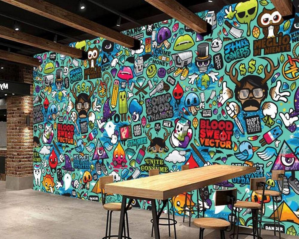 Kustom anak wallpaper abstrak graffiti 3d kartun mural untuk ruang tamu kamar anak anak toko dinding vinyl wallpaper di wallpaper dari perbaikan rumah