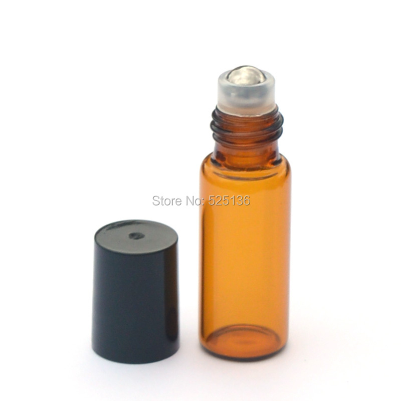 1pcs 5ml Amber Roll Glass Bottles for Essential Oils Roll-on Refillable Perfume Bottle Deodorant Containers With Black Lid mub 12ml mini cute glass portable perfume bottle with roll on