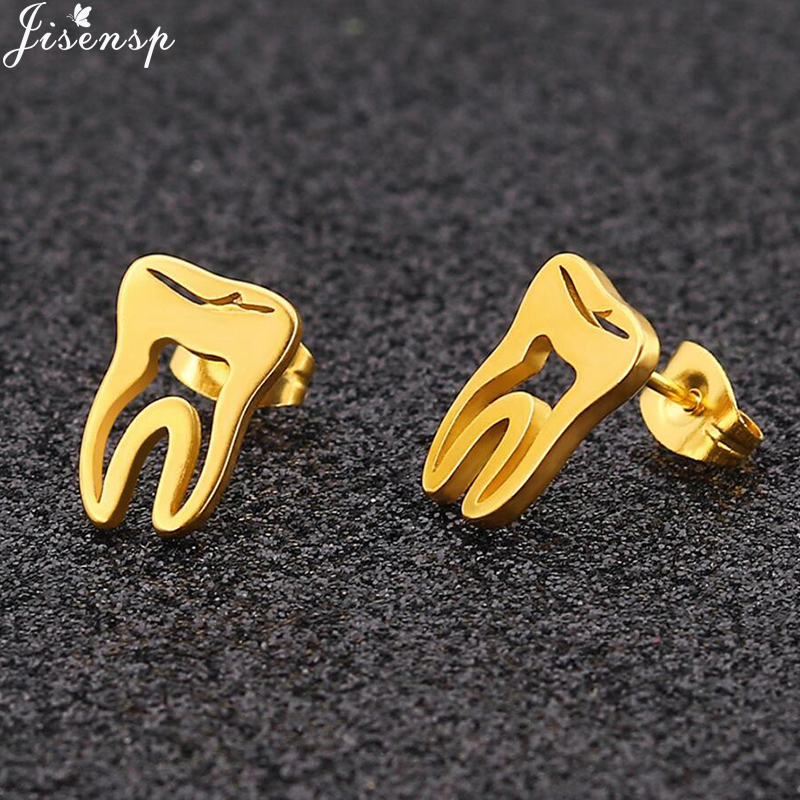 Jisensp Stainless Steel Gold Hollow Teeth Earrings Minimalist Jewelry Love Dental Small Earrings Woman Doctor Nurse Best Gift