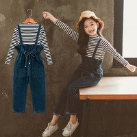 2019 New Autumn Children's Set Girls Suit Stripe Top Stripe Tops and Overalls Pants Toddler Shirt and Jeans Pants Cotton,#3810