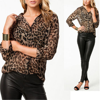 NEW Style Sexy Leopard Print Pocket Long Sleeve Chiffon Blouse Shirt Tops S-XXL blusa sexi animal print