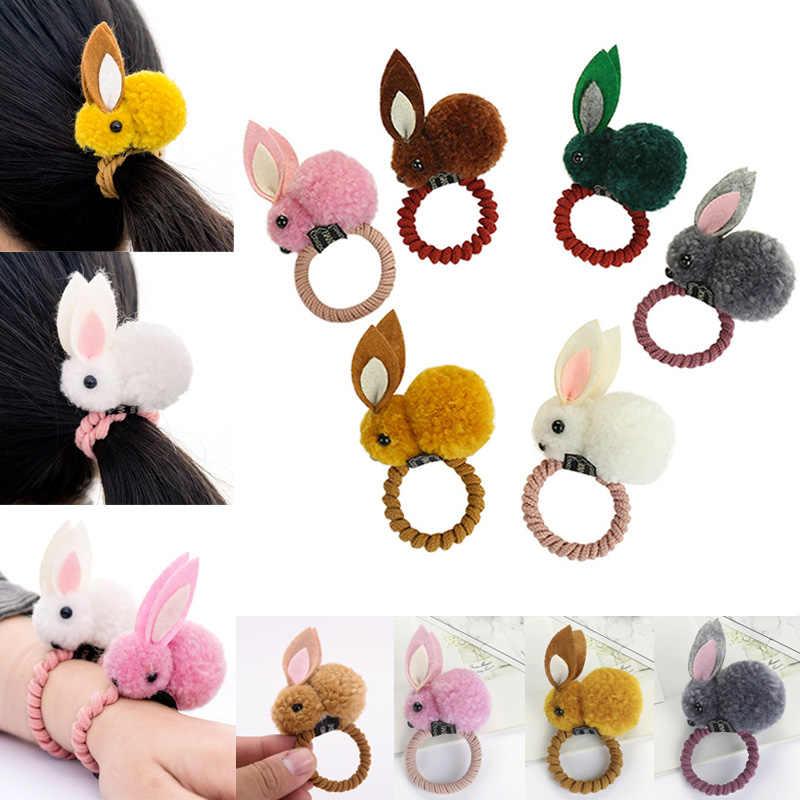 1 piezas banda de pelo de cola de caballo de cuero elástico conejo de peluche de juguete para los niños las niñas 669