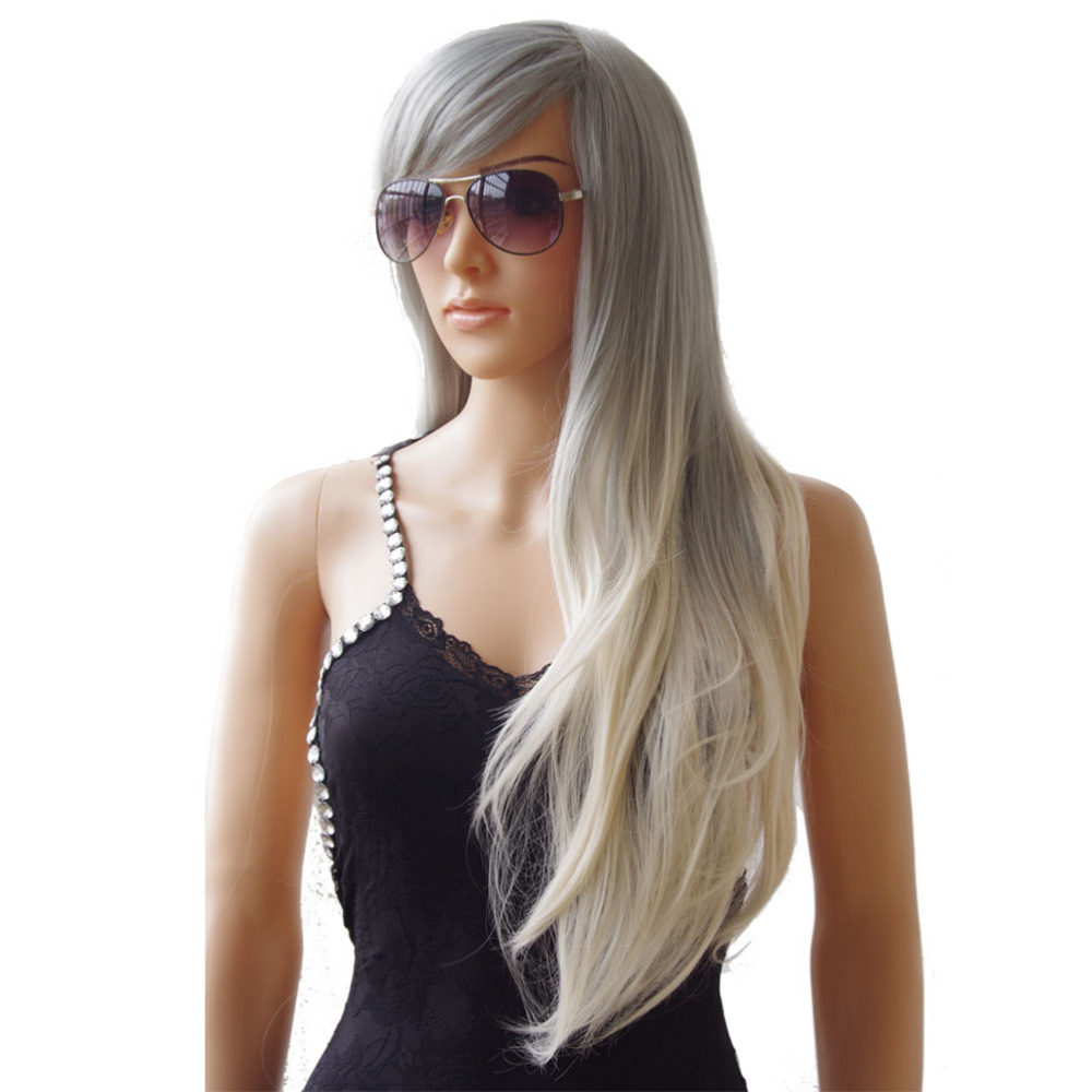 S noilite Synthetic Wigs Long Straight Ombre Wig Heat Resistant Fiber Mint Green Black Roots Wigs for Women Fake Hair-in Synthetic None-Lace  Wigs from Hair Extensions & Wigs