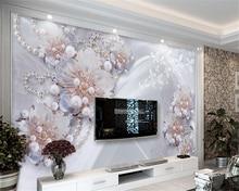 Купить с кэшбэком Beibehang 3d wallpapers high - end fine jewelry flowers living room TV background wall home decoration murals papel de parede