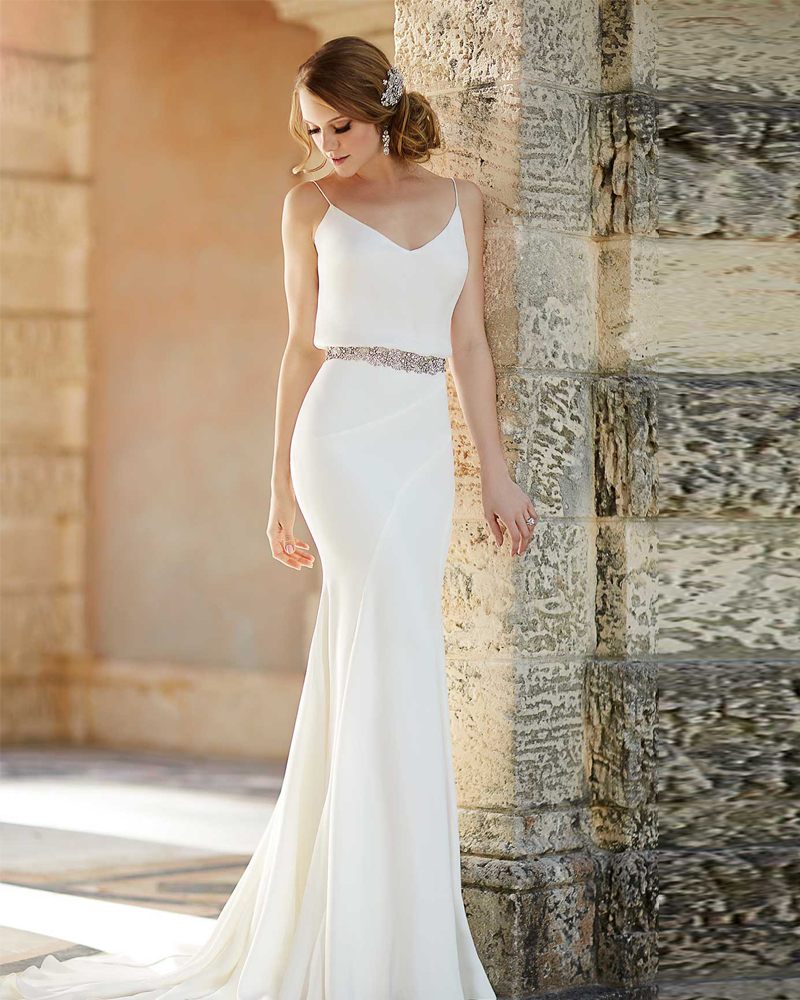Vestido De Novia 2015 Beach Chiffon Wedding Dress Simple