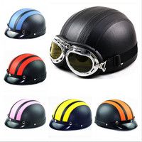 2015 New Arrive Brand New Motorcycle Helmet Leather Electromotive Safe Open Face Half Helmets With Goggles
