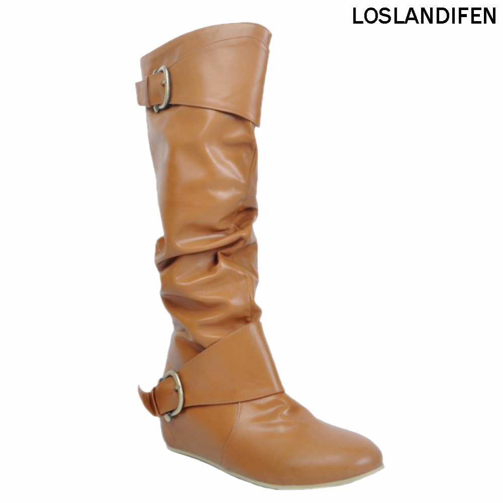 New Hot Selling Large Size Ladies Womens Handmade Fashion Boots buckles Hi-top Party Daily Flats Shoes XD136
