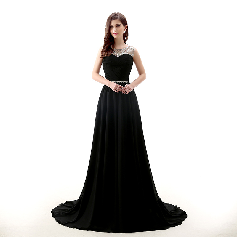 backlackgirl elegant beautiful New Design Black Long Evening Dress A Line  Cap Sleeves Beaded Crystal Formal Party Gown Plus Size c572fe2b0b3f