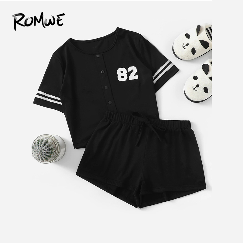 ROMWE Number Print Button Front Top And Shorts PJ   Set   2019 Black Summer Women Sleepwear Casual Short Sleeve   Pajama     Sets