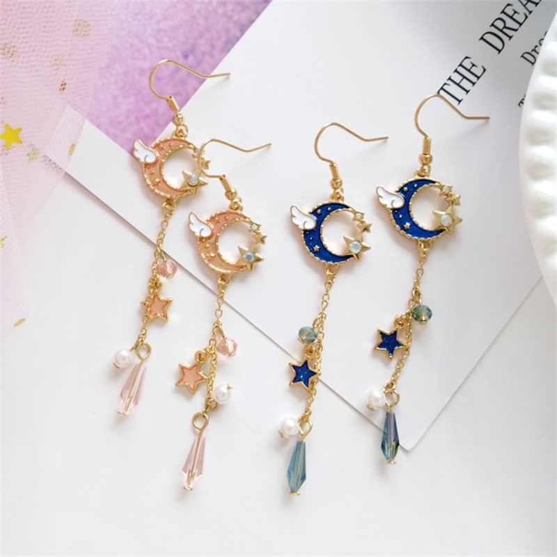 MINGQI Korean fashion pink blue moon wing stars long pearl earrings simple pentagram crystal ear clip for women female jewelry