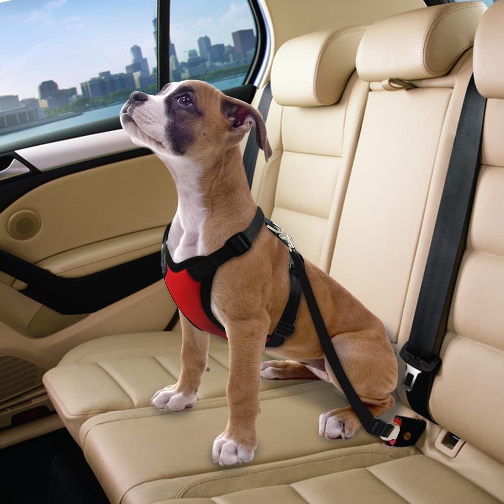 Nylon Dog Car Seat Belt Mesh Pet Dogs Safety Car Harness Soft Padded Vest Vehicle Seatbelt Lead Leash For Medium Large 5