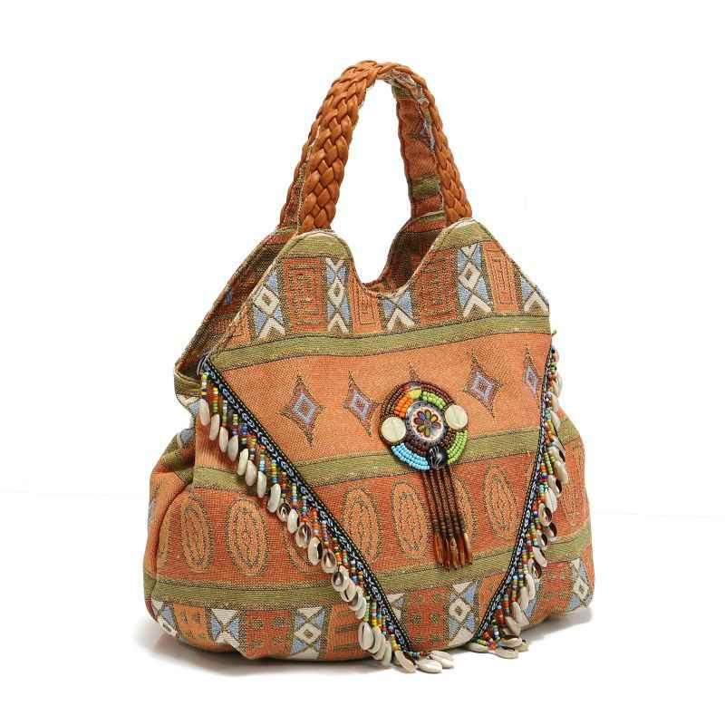 8ecb73d019 ... Trendy embroidery Women Striped PU Leather Handbag Bohemian Boho Gypsy  Bags Cotton Fabric Bag national folk ...