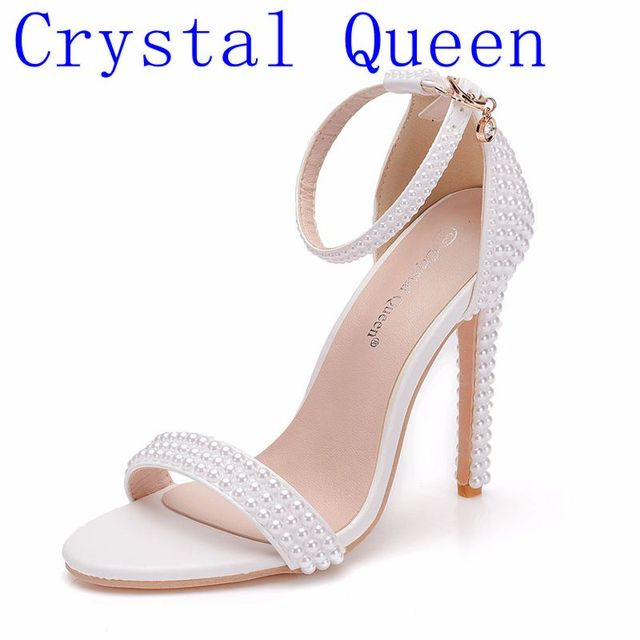 Crystal Queen Bride Wedding Shoes Fashion Shoes For Woman Ankle Strap Party Dress Shoes Open Toe High Heels Pumps Female Sandals