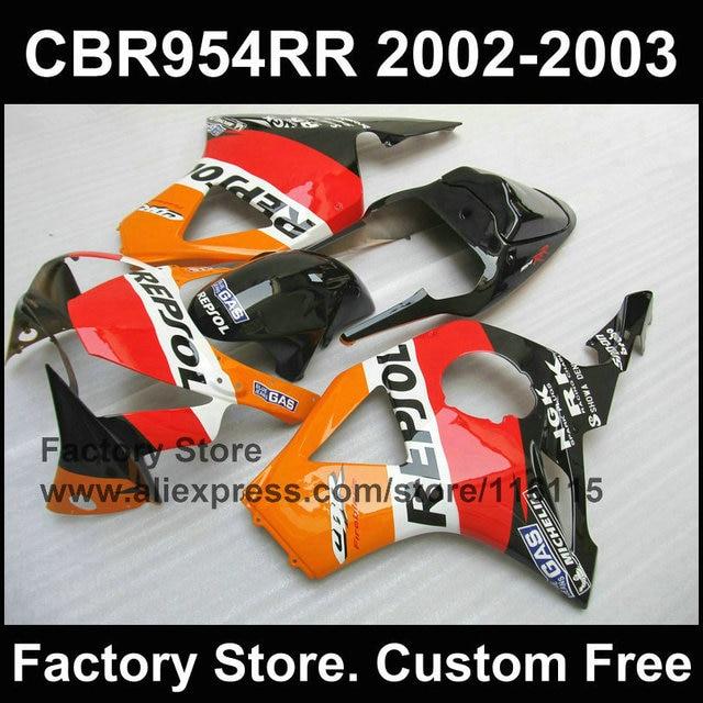 ABS Plastic Orange Repsol Bodywork For CBR 900RR 2002 2003 Fireblade Compression Fairings 954 RR 02 03