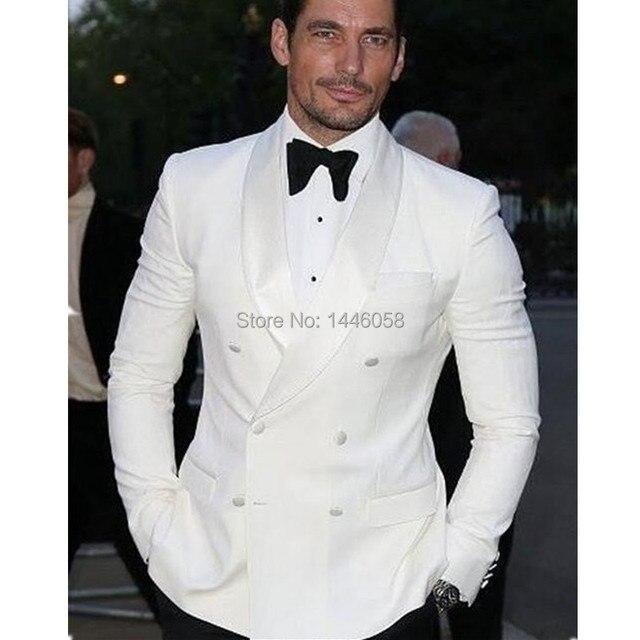 2017 verano estilo por encargo blanco blazer doble breasted hombres traje  novio esmoquin bespoke boda Trajes f73aa7ff8bf