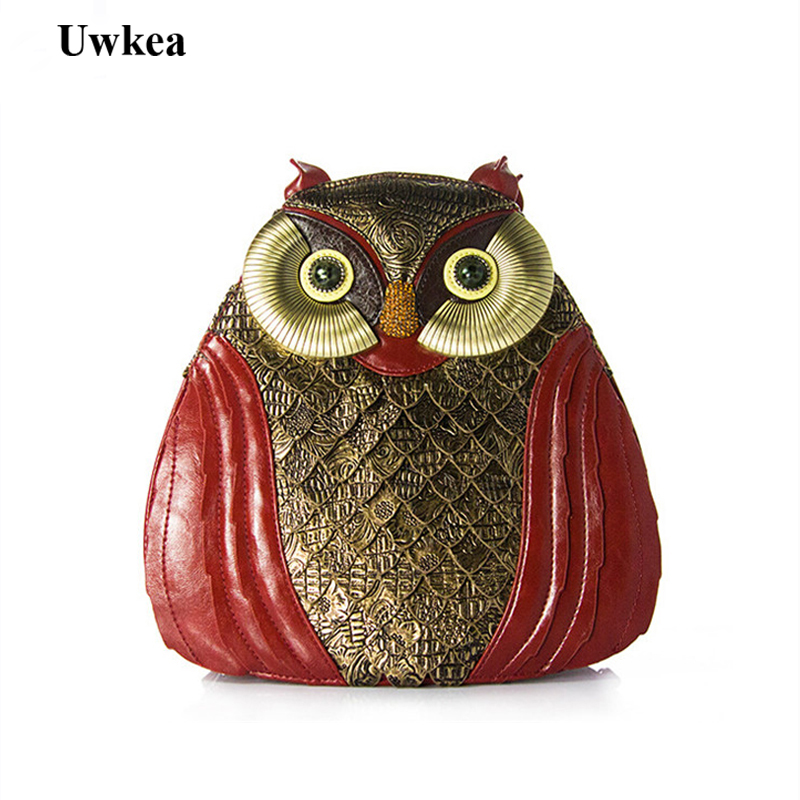 Uwkea Lady Delicacy Owl Pattern Messenger Bags Novelty Quality Animal Shape Unique Pattern Women Brand Design Handmade Handbags недорого