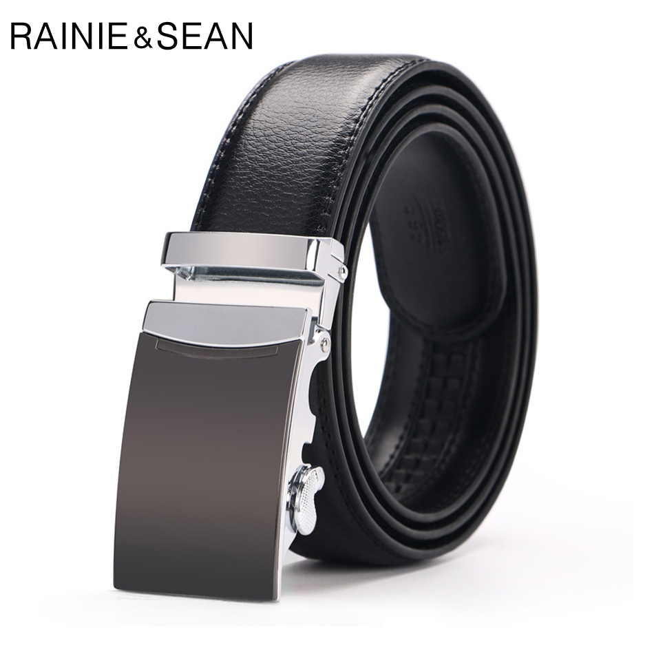 RAINIE SEAN Mens Belt Leather Business Solid Black Strap Male Genuine Cow Automatic Trouser